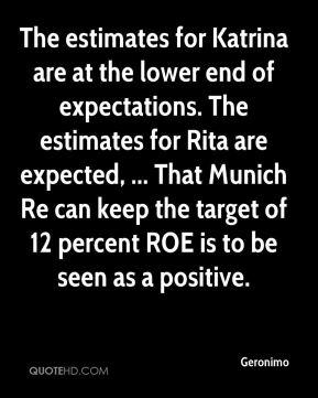 Geronimo - The estimates for Katrina are at the lower end of expectations. The estimates for Rita are expected, ... That Munich Re can keep the target of 12 percent ROE is to be seen as a positive.