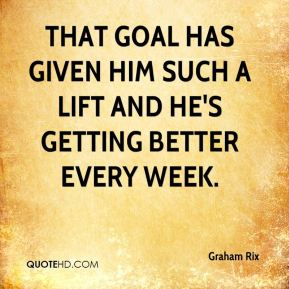 Graham Rix - That goal has given him such a lift and he's getting better every week.