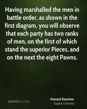 Having marshalled the men in battle order, as shown in the first diagram, you will observe that each party has two ranks of men, on the first of which stand the superior Pieces, and on the next the eight Pawns.
