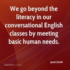 We go beyond the literacy in our conversational English classes by meeting basic human needs.