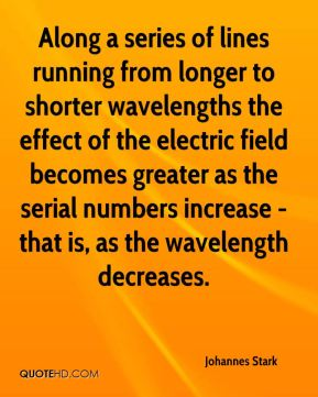 Along a series of lines running from longer to shorter wavelengths the effect of the electric field becomes greater as the serial numbers increase - that is, as the wavelength decreases.