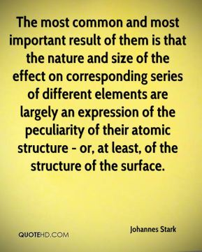 The most common and most important result of them is that the nature and size of the effect on corresponding series of different elements are largely an expression of the peculiarity of their atomic structure - or, at least, of the structure of the surface.