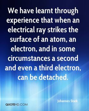 We have learnt through experience that when an electrical ray strikes the surface of an atom, an electron, and in some circumstances a second and even a third electron, can be detached.