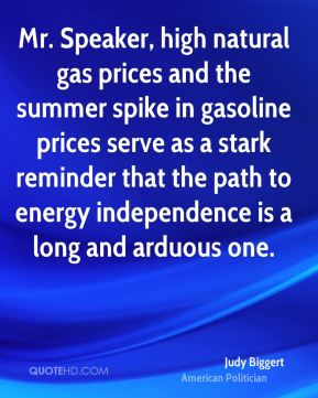 Judy Biggert - Mr. Speaker, high natural gas prices and the summer spike in gasoline prices serve as a stark reminder that the path to energy independence is a long and arduous one.
