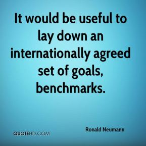 Ronald Neumann  - It would be useful to lay down an internationally agreed set of goals, benchmarks.
