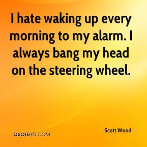 I hate waking up every morning to my alarm. I always bang my head on the steering wheel.