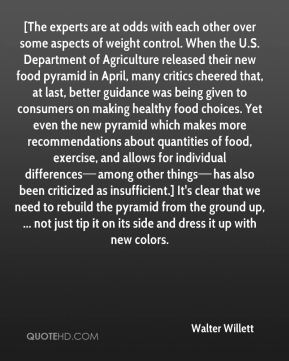[The experts are at odds with each other over some aspects of weight control. When the U.S. Department of Agriculture released their new food pyramid in April, many critics cheered that, at last, better guidance was being given to consumers on making healthy food choices. Yet even the new pyramid which makes more recommendations about quantities of food, exercise, and allows for individual differences—among other things—has also been criticized as insufficient.] It's clear that we need to rebuild the pyramid from the ground up, ... not just tip it on its side and dress it up with new colors.