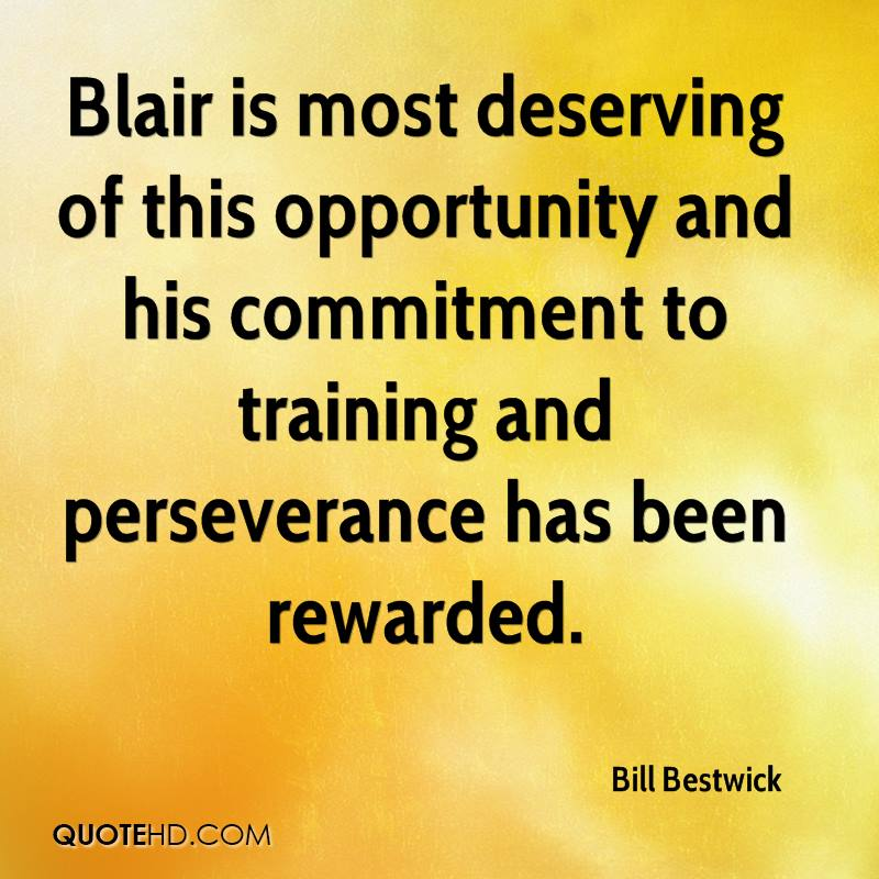 Blair is most deserving of this opportunity and his commitment to training and perseverance has been rewarded.