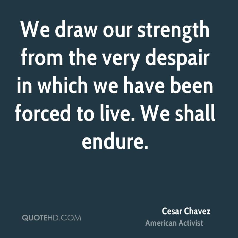We draw our strength from the very despair in which we have been forced to live. We shall endure.