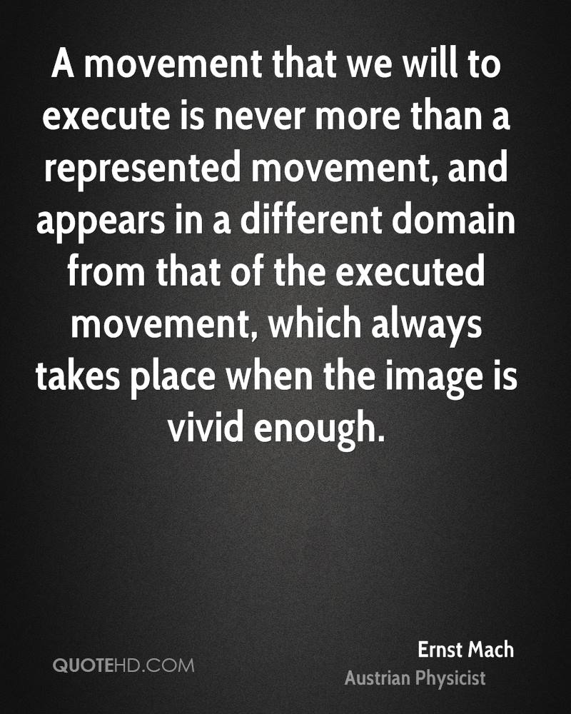 A movement that we will to execute is never more than a represented movement, and appears in a different domain from that of the executed movement, which always takes place when the image is vivid enough.