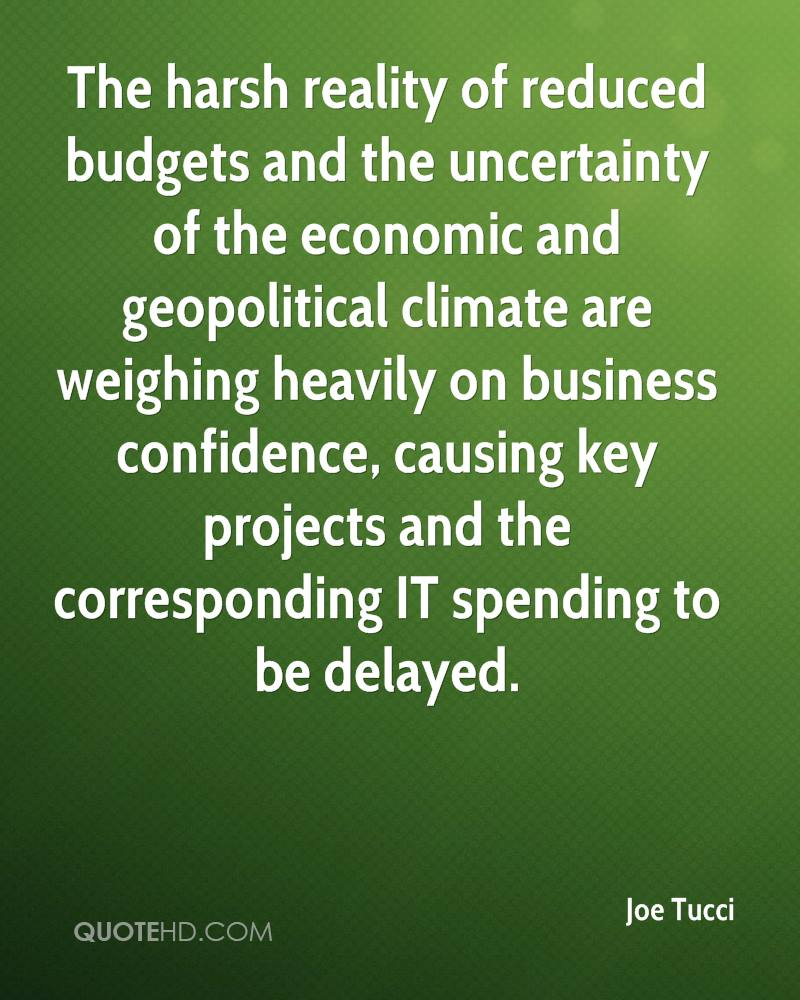 The harsh reality of reduced budgets and the uncertainty of the economic and geopolitical climate are weighing heavily on business confidence, causing key projects and the corresponding IT spending to be delayed.