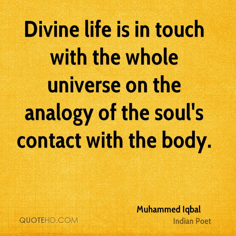Divine life is in touch with the whole universe on the analogy of the soul's contact with the body.