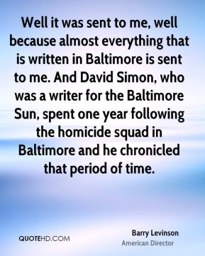 Well it was sent to me, well because almost everything that is written in Baltimore is sent to me. And David Simon, who was a writer for the Baltimore Sun, spent one year following the homicide squad in Baltimore and he chronicled that period of time.