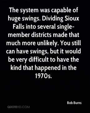 The system was capable of huge swings. Dividing Sioux Falls into several single-member districts made that much more unlikely. You still can have swings, but it would be very difficult to have the kind that happened in the 1970s.