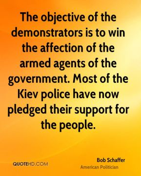 The objective of the demonstrators is to win the affection of the armed agents of the government. Most of the Kiev police have now pledged their support for the people.