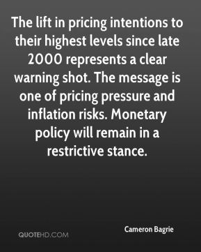 The lift in pricing intentions to their highest levels since late 2000 represents a clear warning shot. The message is one of pricing pressure and inflation risks. Monetary policy will remain in a restrictive stance.