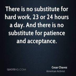 There is no substitute for hard work, 23 or 24 hours a day. And there is no substitute for patience and acceptance.