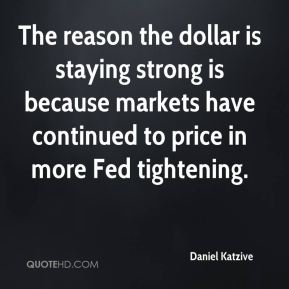 Daniel Katzive - The reason the dollar is staying strong is because markets have continued to price in more Fed tightening.