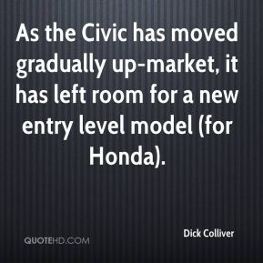 Dick Colliver - As the Civic has moved gradually up-market, it has left room for a new entry level model (for Honda).
