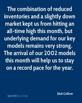 Dick Colliver - The combination of reduced inventories and a slightly down market kept us from hitting an all-time high this month, but underlying demand for our key models remains very strong. The arrival of our 2002 models this month will help us to stay on a record pace for the year.