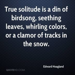 Edward Hoagland - True solitude is a din of birdsong, seething leaves, whirling colors, or a clamor of tracks in the snow.