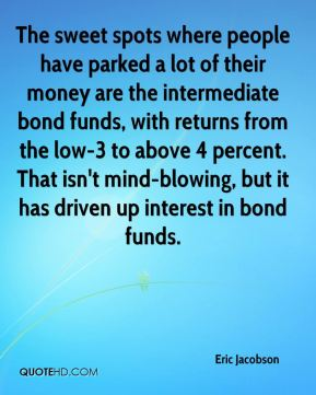 Eric Jacobson - The sweet spots where people have parked a lot of their money are the intermediate bond funds, with returns from the low-3 to above 4 percent. That isn't mind-blowing, but it has driven up interest in bond funds.