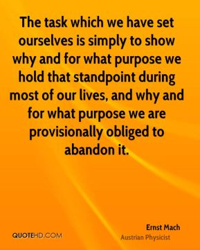 The task which we have set ourselves is simply to show why and for what purpose we hold that standpoint during most of our lives, and why and for what purpose we are provisionally obliged to abandon it.
