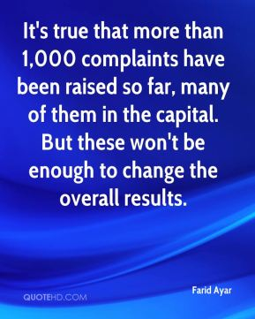 Farid Ayar - It's true that more than 1,000 complaints have been raised so far, many of them in the capital. But these won't be enough to change the overall results.