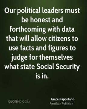 Our political leaders must be honest and forthcoming with data that will allow citizens to use facts and figures to judge for themselves what state Social Security is in.