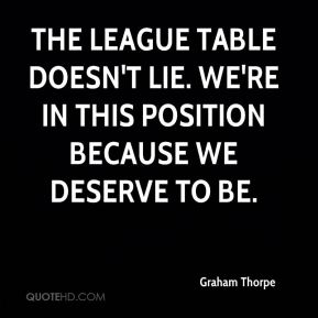 Graham Thorpe - The league table doesn't lie. We're in this position because we deserve to be.