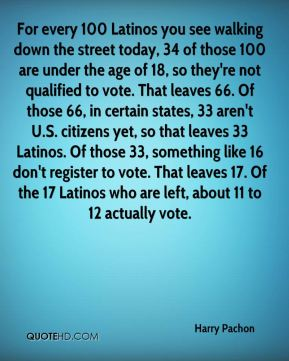 For every 100 Latinos you see walking down the street today, 34 of those 100 are under the age of 18, so they're not qualified to vote. That leaves 66. Of those 66, in certain states, 33 aren't U.S. citizens yet, so that leaves 33 Latinos. Of those 33, something like 16 don't register to vote. That leaves 17. Of the 17 Latinos who are left, about 11 to 12 actually vote.