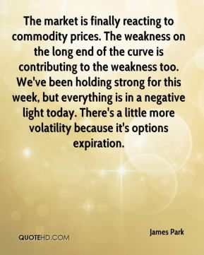 James Park - The market is finally reacting to commodity prices. The weakness on the long end of the curve is contributing to the weakness too. We've been holding strong for this week, but everything is in a negative light today. There's a little more volatility because it's options expiration.