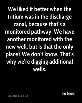 Jim Steets  - We liked it better when the tritium was in the discharge canal, because that's a monitored pathway. We have another monitored with the new well, but is that the only place? We don't know. That's why we're digging additional wells.
