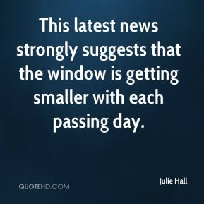 This latest news strongly suggests that the window is getting smaller with each passing day.