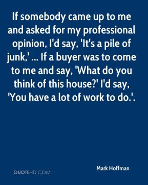 Mark Hoffman  - If somebody came up to me and asked for my professional opinion, I'd say, 'It's a pile of junk,' ... If a buyer was to come to me and say, 'What do you think of this house?' I'd say, 'You have a lot of work to do.'.