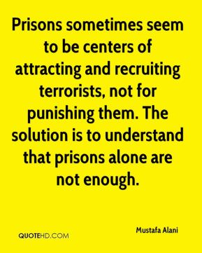 Mustafa Alani  - Prisons sometimes seem to be centers of attracting and recruiting terrorists, not for punishing them. The solution is to understand that prisons alone are not enough.