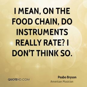 I mean, on the food chain, do instruments really rate? I don't think so.