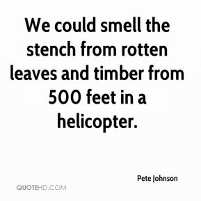 Pete Johnson  - We could smell the stench from rotten leaves and timber from 500 feet in a helicopter.