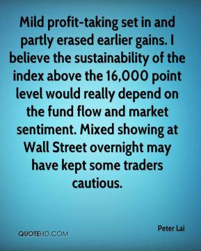 Peter Lai  - Mild profit-taking set in and partly erased earlier gains. I believe the sustainability of the index above the 16,000 point level would really depend on the fund flow and market sentiment. Mixed showing at Wall Street overnight may have kept some traders cautious.