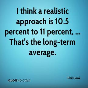 I think a realistic approach is 10.5 percent to 11 percent, ... That's the long-term average.