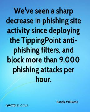 We've seen a sharp decrease in phishing site activity since deploying the TippingPoint anti-phishing filters, and block more than 9,000 phishing attacks per hour.