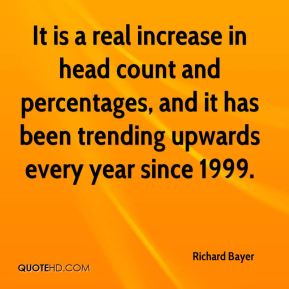 It is a real increase in head count and percentages, and it has been trending upwards every year since 1999.