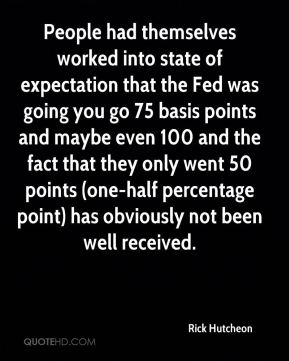 Rick Hutcheon  - People had themselves worked into state of expectation that the Fed was going you go 75 basis points and maybe even 100 and the fact that they only went 50 points (one-half percentage point) has obviously not been well received.