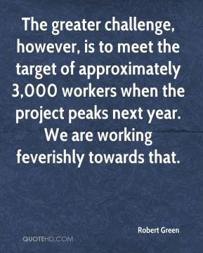 Robert Green  - The greater challenge, however, is to meet the target of approximately 3,000 workers when the project peaks next year. We are working feverishly towards that.