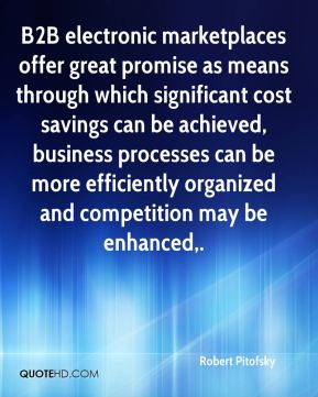 Robert Pitofsky  - B2B electronic marketplaces offer great promise as means through which significant cost savings can be achieved, business processes can be more efficiently organized and competition may be enhanced.