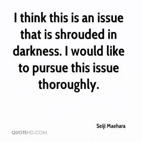 I think this is an issue that is shrouded in darkness. I would like to pursue this issue thoroughly.