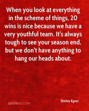 When you look at everything in the scheme of things, 20 wins is nice because we have a very youthful team. It's always tough to see your season end, but we don't have anything to hang our heads about.
