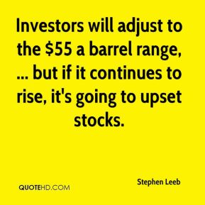 Stephen Leeb  - Investors will adjust to the $55 a barrel range, ... but if it continues to rise, it's going to upset stocks.