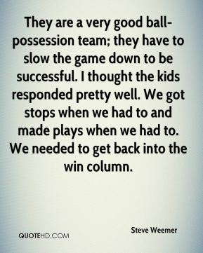 They are a very good ball-possession team; they have to slow the game down to be successful. I thought the kids responded pretty well. We got stops when we had to and made plays when we had to. We needed to get back into the win column.