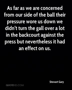 Stewart Gary  - As far as we are concerned from our side of the ball their pressure wore us down we didn't turn the gall over a lot in the backcourt against the press but nevertheless it had an effect on us.